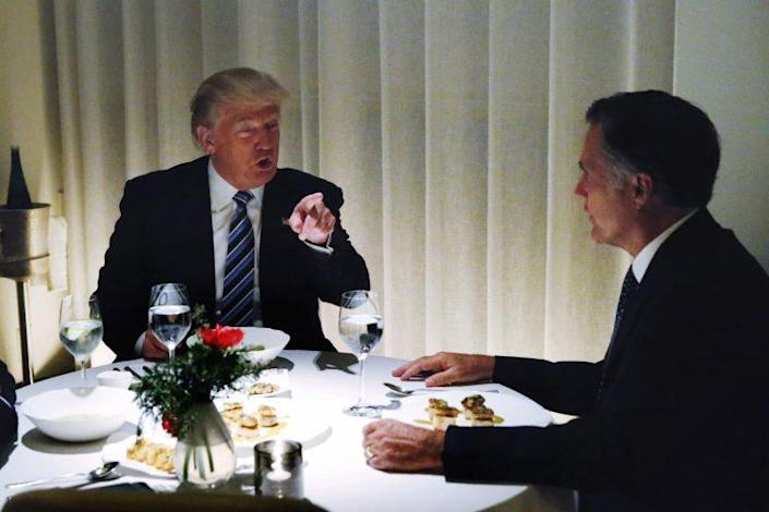 Trump dines with Mitt Romney at Jean-Georges, located at Trump Tower in New York City, Nov. 29, 2016. (Photo: Lucas Jackson/Reuters)
