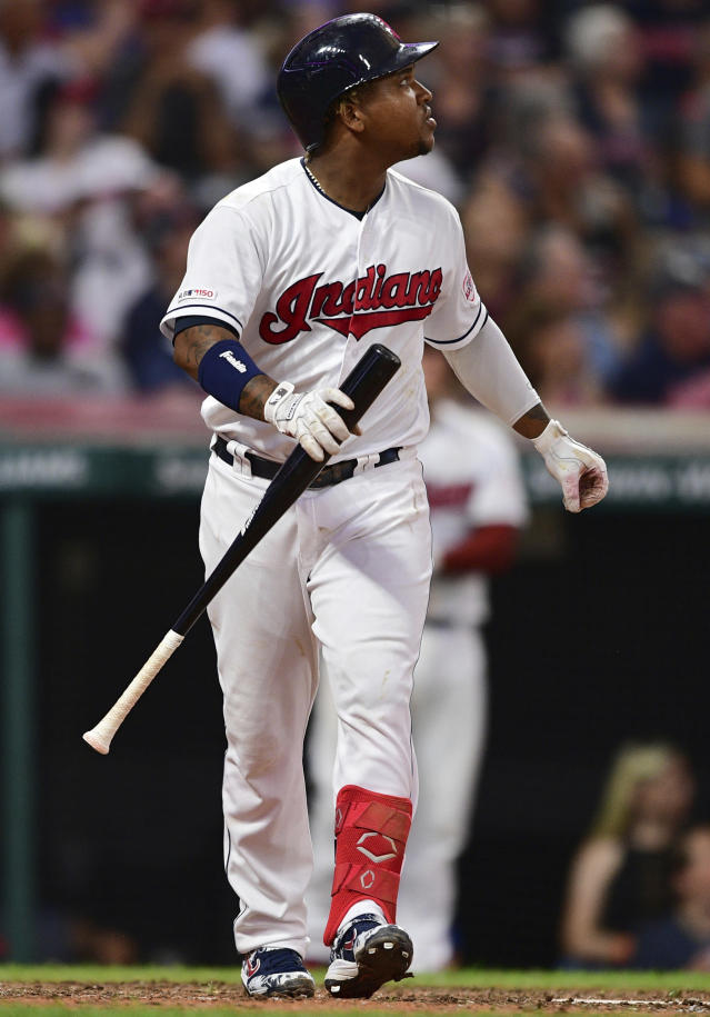 Cleveland Indians' Jose Ramirez watches his two-run home run off Detroit Tigers starting pitcher Matthew Boyd during the sixth inning of a baseball game Thursday, July 18, 2019, in Cleveland. (AP Photo/David Dermer)
