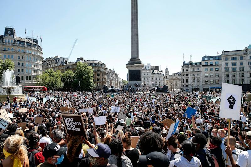 A Black Lives Matter march at Trafalgar Square in London on Sunday. (Photo: Hollie Adams via Getty Images)