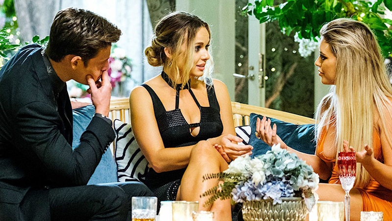 Drama kicked on The Bachelor tonight when Matt Agnew and Abbie Chatfield confronted Monique Morley. Photo: Channel Ten