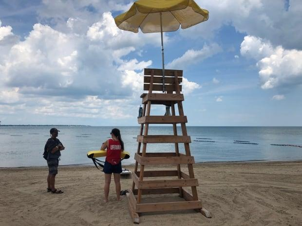 Sandpoint Beach in Windsor opened Tuesday to crowds of people who were trying to escape the heat.  (Jennifer La Grassa/CBC - image credit)