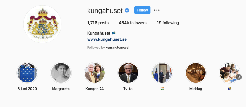The Swedish royals are being followed by Kensington Royal. (Instagram)
