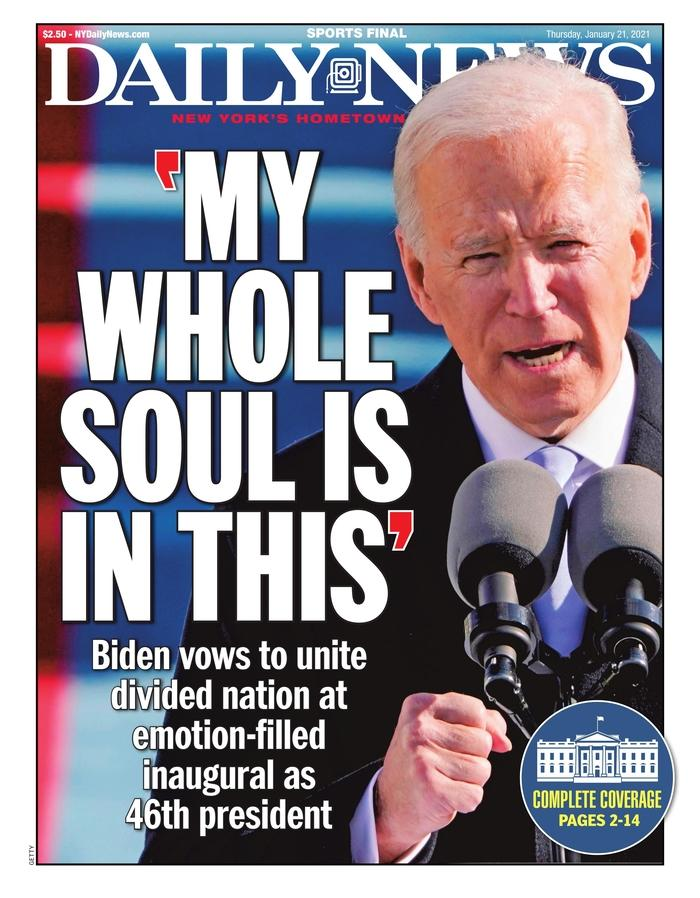 January 21, 2021 front page of the New York Daily News