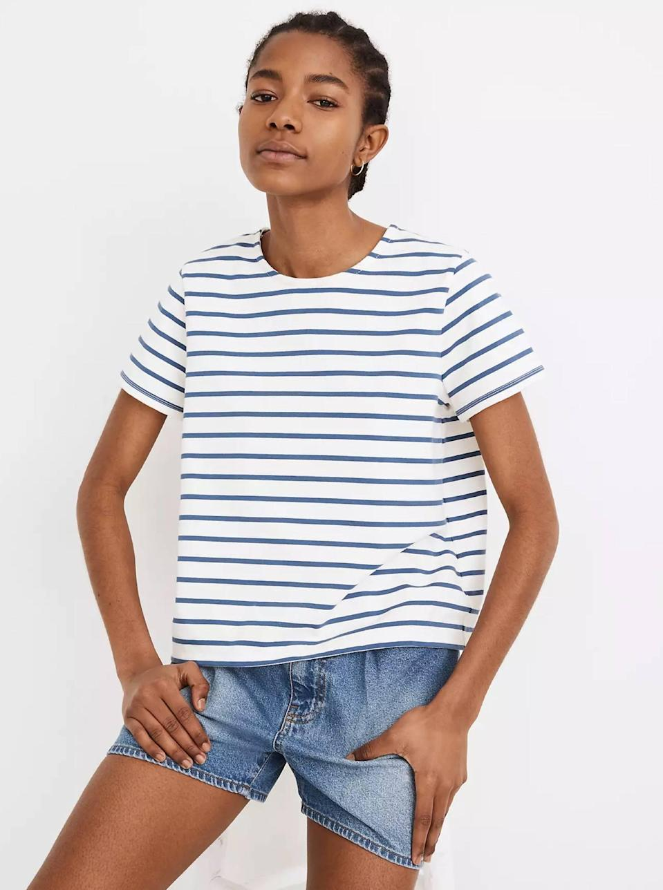 """If you don't already own a basic blue-and-white striped tee, now is your moment. Throw this boxy number over a pair of <a href=""""https://www.glamour.com/gallery/best-high-waisted-jeans?mbid=synd_yahoo_rss"""" rel=""""nofollow noopener"""" target=""""_blank"""" data-ylk=""""slk:high-waist jeans"""" class=""""link rapid-noclick-resp"""">high-waist jeans</a> and you've got yourself a perfect outfit. $39.5, Madewell. <a href=""""https://www.madewell.com/luxe-boxy-crop-tee-in-atmore-stripe-MB177.html?"""" rel=""""nofollow noopener"""" target=""""_blank"""" data-ylk=""""slk:Get it now!"""" class=""""link rapid-noclick-resp"""">Get it now!</a>"""
