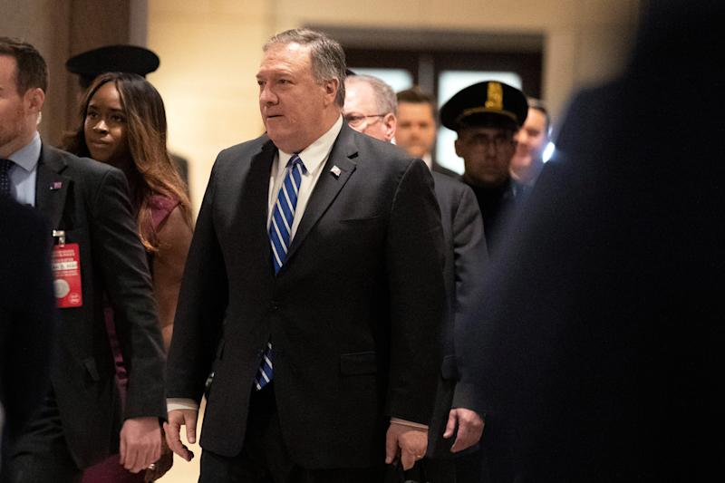 Secretary of State Mike Pompeo, arrives to conduct briefings for members of Congress on the targeted killing of Iran's senior military commander Gen. Qassem Soleimani, Wednesday, Jan. 8, 2020, on Capitol Hill in Washington.