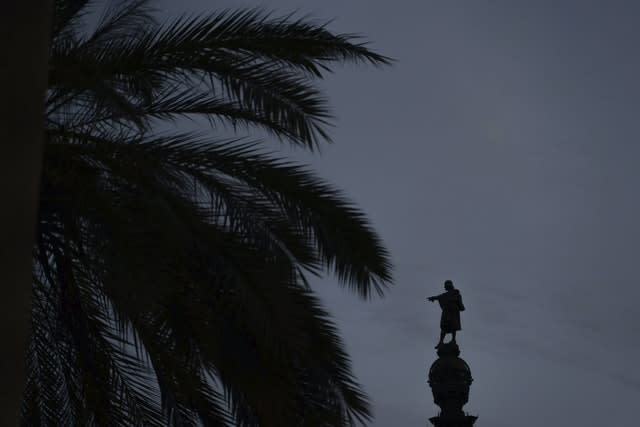 The statue of Christopher Columbus in Barcelona (Renata Brito/AP)