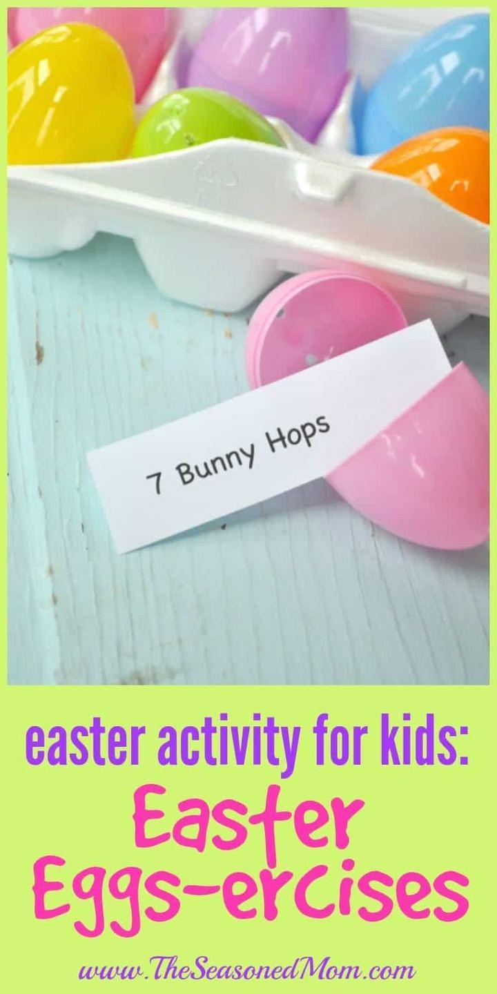 """<p>Play this high-energy game, which involves doing whatever exercise hides inside your egg, before dinner to help your kids work up an appetite. </p><p><em>Get the tutorial at <a href=""""https://www.theseasonedmom.com/easter-activity-for-kids-easter-eggs-ercises/"""" rel=""""nofollow noopener"""" target=""""_blank"""" data-ylk=""""slk:The Seasoned Mom"""" class=""""link rapid-noclick-resp"""">The Seasoned Mom</a>.</em></p>"""