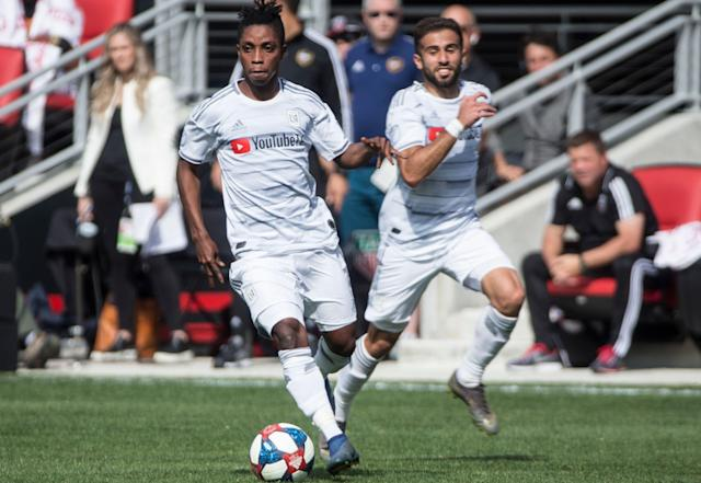 Latif Blessing, left, Diego Rossi and LAFC will try to maintain their hot start to the season against expansion FC Cincinnati. (Getty)