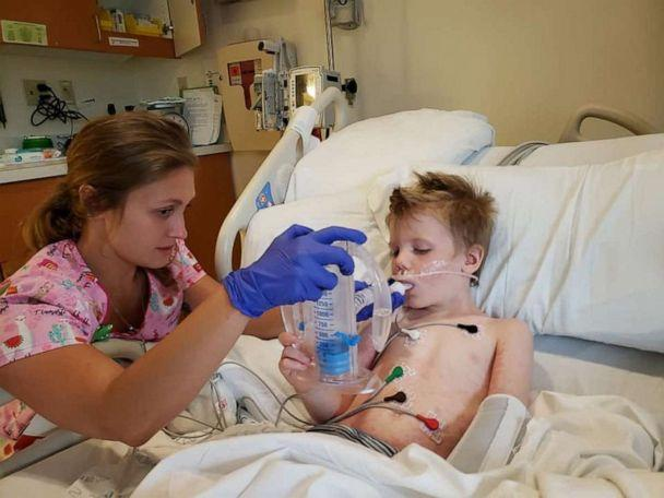 PHOTO: Adam Leeson, 5, recovers at Peyton Manning Children's Hospital in Indianapolis, Indiana after he was rescued from a swimming pool. (Maribeth Leeson )