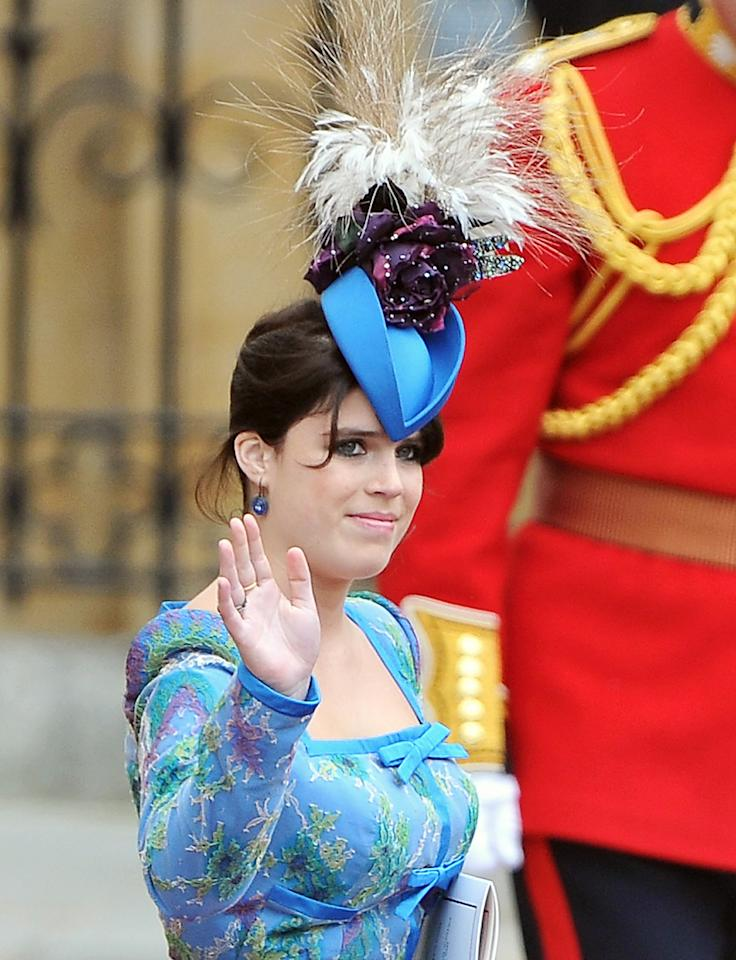 """<p>Perhaps <a href=""""https://people.com/tag/princess-eugenie/"""">Princess Eugenie</a>'s most famous fascinor was the feathered number worn to cousin Prince William's 2011 wedding to Kate Middleton. She and sister Princess Beatrice made headlines for their whimsical headpieces.</p>"""