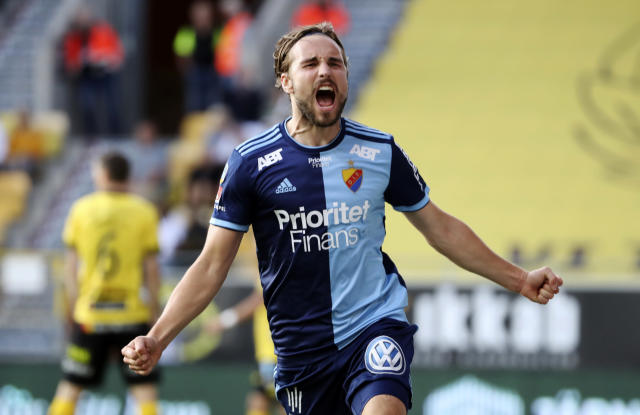 FILE - In this Aug. 5, 2019 file photo Djurgardens player Kevin Walker celebrates after scoring during the match between IF Elfsborg and Djurgardens IF at Boras arena, in Boras, Sweden. Swedish soccer player Kevin Walker was thrust into the national consciousness when he won the country's biggest reality talent show in 2013 but he chose to stay in soccer rather than chase more music fame. (Adam Ihse/TT via AP, File)