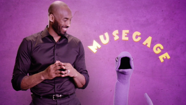 Kobe Bryant and a snake puppet named Li'l Mamba, naturally. (ESPN screenshot)