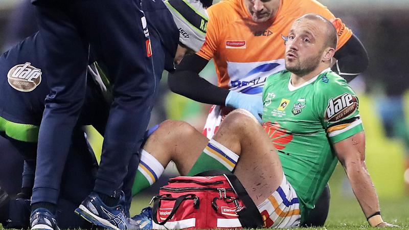 Josh Hodgson, pictured here after appearing to suffer a season-ending injury.
