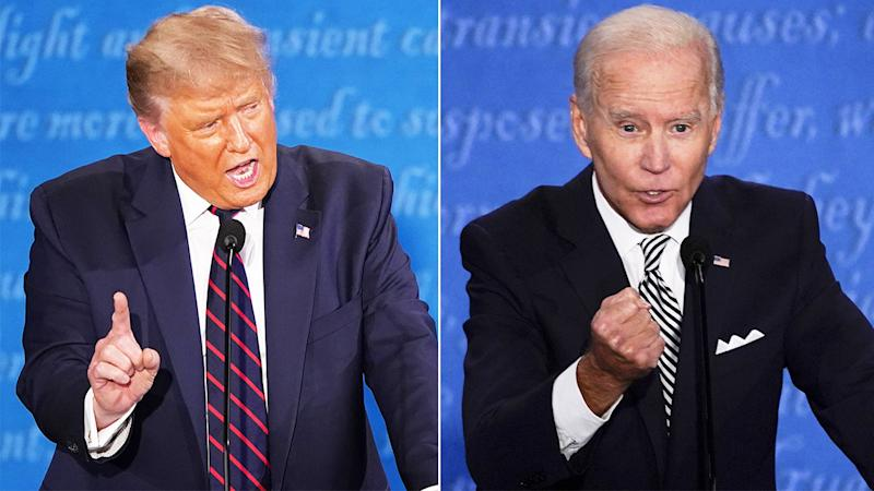 US President Donald Trump (pictured left) debating with presidential candidate Joe Biden (pictured right).