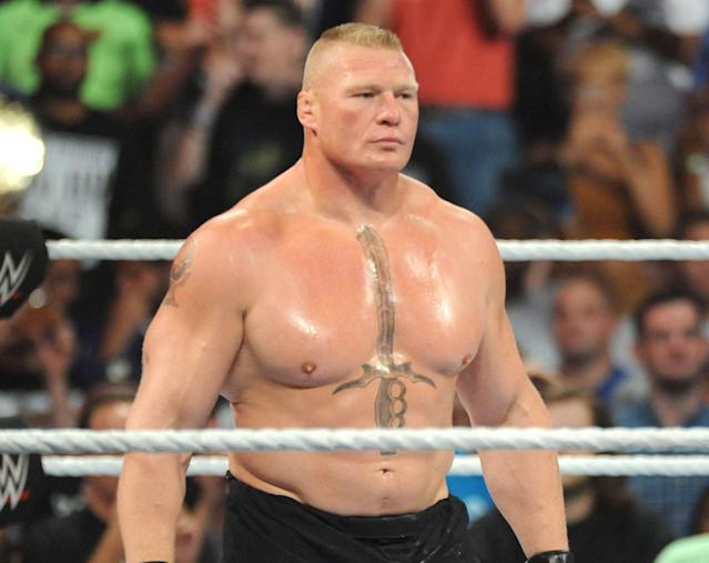 Brock Lesnar made a surprise return to win the Money in the Bank briefcase. (Photo Credit: John Palmer/ MediaPunch/IPX)