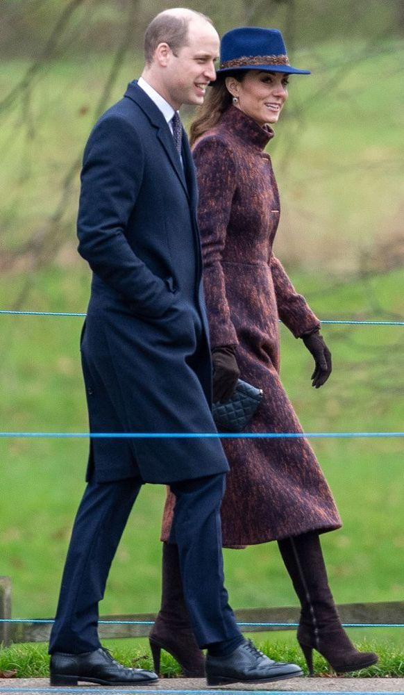 Kate Middleton and Prince William attending church in Sandringham on January 5, 2020. | Joe Giddens/PA Wire