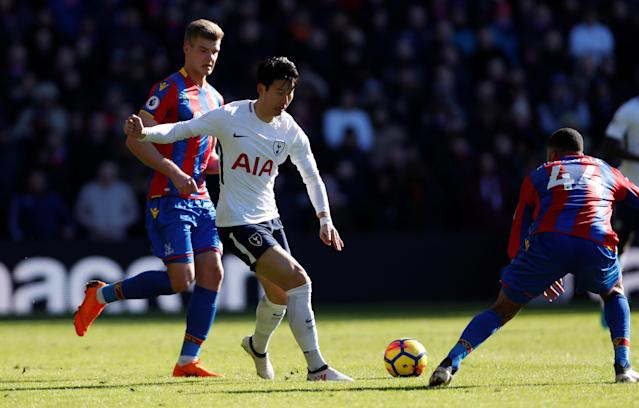 "Soccer Football - Premier League - Crystal Palace vs Tottenham Hotspur - Selhurst Park, London, Britain - February 25, 2018 Tottenham's Son Heung-min in action with Crystal Palace's Alexander Sorloth Action Images via Reuters/Paul Childs EDITORIAL USE ONLY. No use with unauthorized audio, video, data, fixture lists, club/league logos or ""live"" services. Online in-match use limited to 75 images, no video emulation. No use in betting, games or single club/league/player publications. Please contact your account representative for further details."