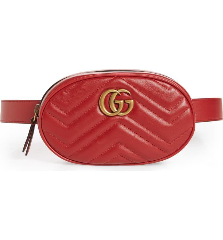 """<p><strong>GUCCI</strong></p><p>nordstrom.com</p><p><strong>$1150.00</strong></p><p><a href=""""https://go.redirectingat.com?id=74968X1596630&url=https%3A%2F%2Fshop.nordstrom.com%2Fs%2Fgucci-gg-marmont-matelasse-leather-belt-bag%2F4643235&sref=http%3A%2F%2Fwww.townandcountrymag.com%2Fstyle%2Ffashion-trends%2Fg22577349%2Fdesigner-fanny-packs%2F"""" target=""""_blank"""">Shop Now</a></p><p>Red is the new neutral, so think of this as your """"little black bag.""""</p>"""