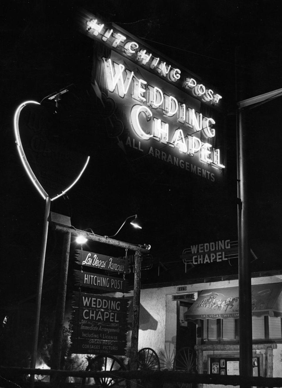 "<p>Las Vegas County issued its first gambling license in 1931—and weddings have been a mainstay of Sin City ever since, luring lovebirds with tax licensing laws that meant no blood tests and no waiting periods. Among the earliest celebrities to wed in Las Vegas were the actors Clara Bow and Rex Bell, who <a href=""http://www.nytimes.com/2006/09/03/us/03vegas.html"" rel=""nofollow noopener"" target=""_blank"" data-ylk=""slk:tied the knot there in 1931"" class=""link rapid-noclick-resp"">tied the knot there in 1931</a>. </p>"
