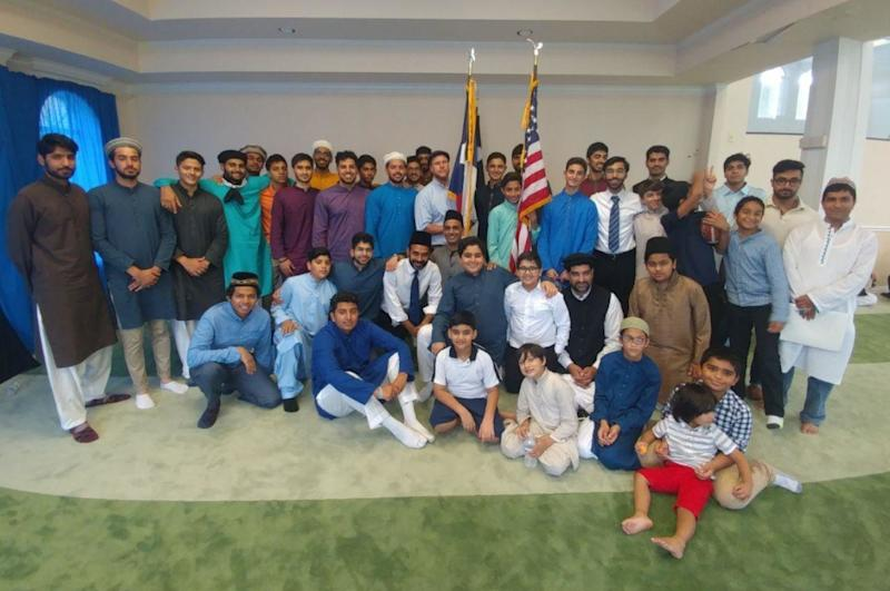 Members of the Houston Ahmadiyya Muslim community gathered at their local mosque for Eid al-Adha services on Friday before getting back to relief efforts. (Ahmadiyya Muslim Youth Association)