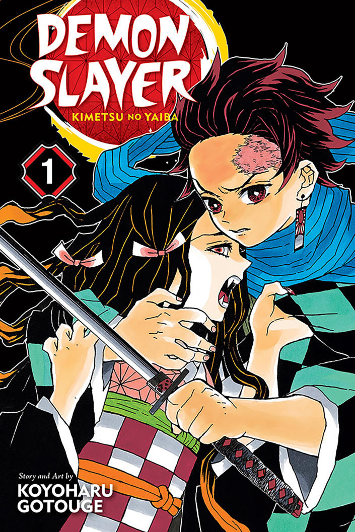 "This image released by KIMETSU NO YAIBA©2016 by Koyoharu Gotouge/SHUEISHA Inc. shows a scene of the manga book ""Demon Slayer"" ""Demon Slayer,"" directed by Haruo Sotozaki, has become the biggest grossing film for Japan, including live-action films, and has struck a chord with pandemic-era Japan, and possibly with the world. (KIMETSU NO YAIBA©2016 by Koyoharu Gotouge/SHUEISHA Inc. via AP)"
