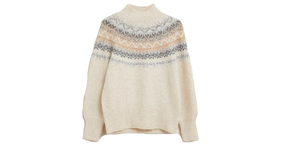 Fair Isle Funnel Neck Relaxed Jumper