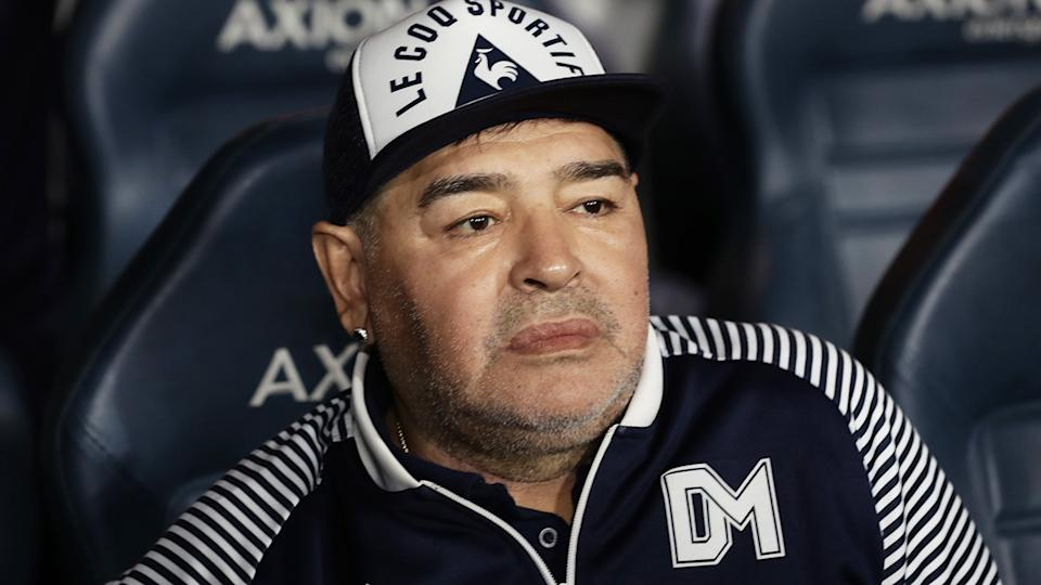 Football champion Diego Maradona, 60, has been hospitalised in Argentina but it is reportedly not related to the coronavirus. (Photo by ALEJANDRO PAGNI/AFP via Getty Images)