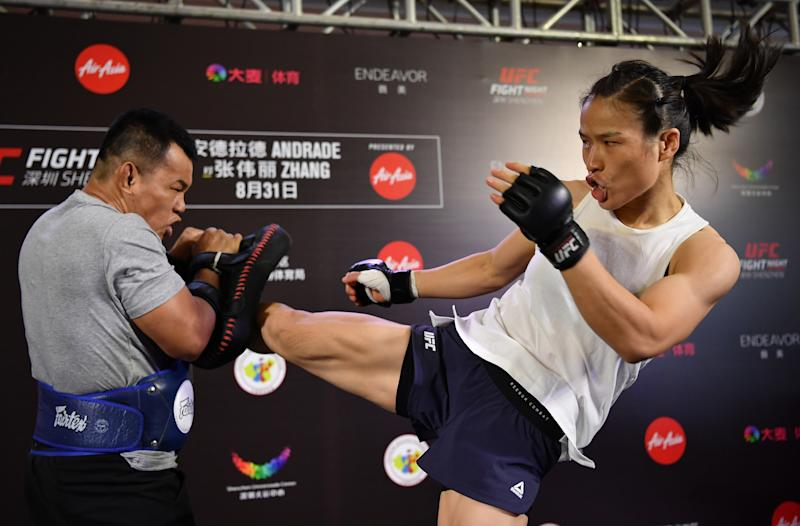 SHENZHEN, CHINA - AUGUST 28: Weili Zhang of China holds an open workout session for fans and media at Upper Hills Mall on August 28, 2019 in Shenzhen, China. (Photo by Brandon Magnus/Zuffa LLC/Zuffa LLC via Getty Images)