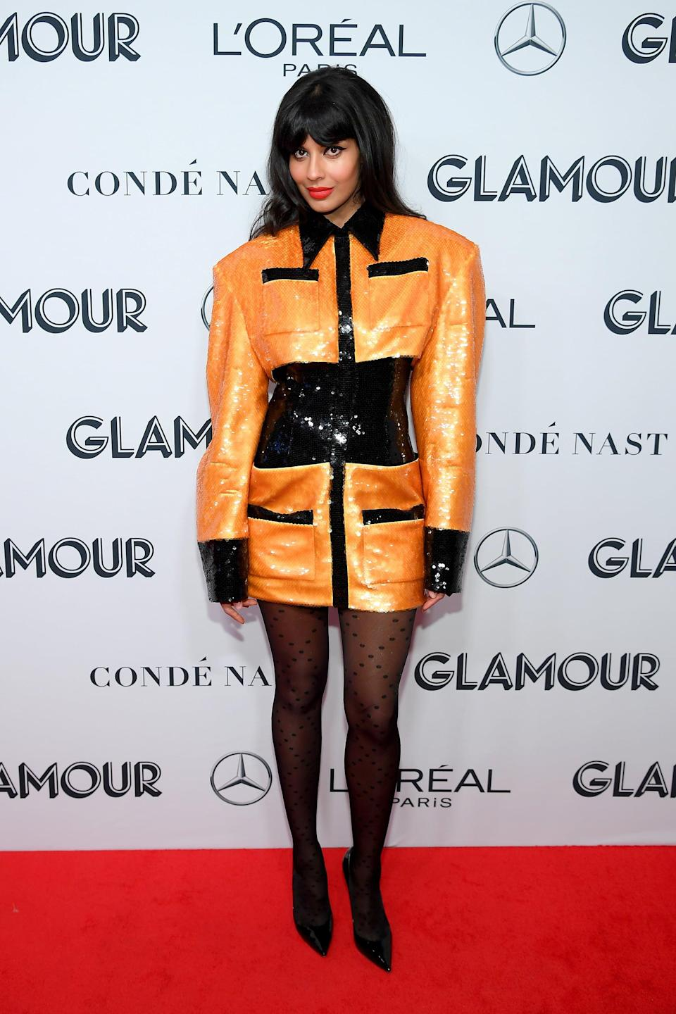 <p>Roach genius-ly paired this Balmain dress with subtly printed tights for that extra zhuzh. </p>
