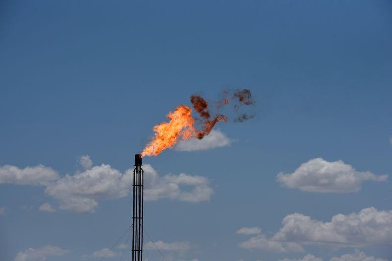 FILE PHOTO: A flare burns off excess gas from a gas plant in the Permian Basin oil production area near Wink