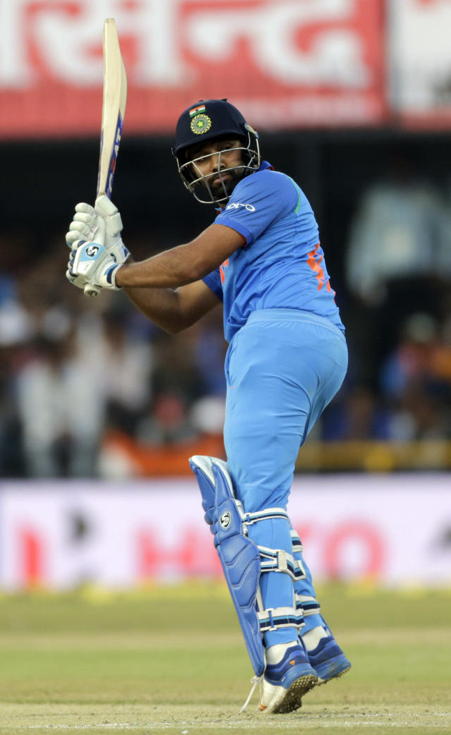 <p>Indian cricket player Rohit Sharma bats during the third one-day international cricket match between India and Australia in Indore, India, Sunday, Sept. 24, 2017. (AP Photo/Rajanish Kakade) </p>