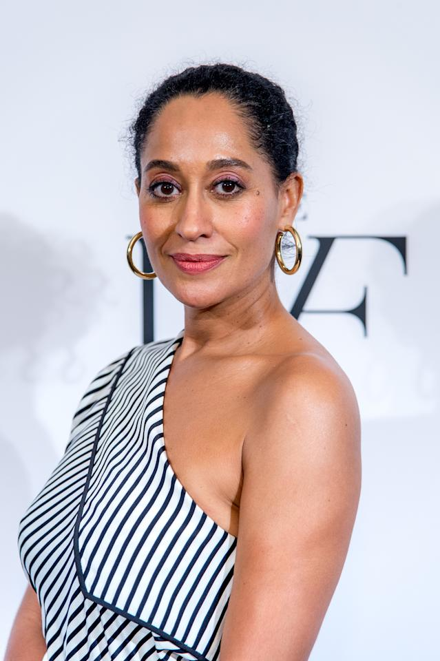 <p>The actress sports Jennifer Fisher Samira Hoop earrings at the 2017 DVF Awards in New York. (Photo: Roy Rochlin/FilmMagic) </p>