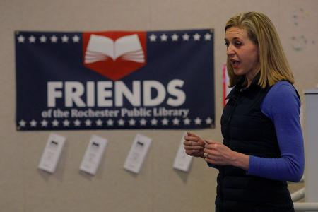 FILE PHOTO: Maura Sullivan, Democratic candidate for the U.S. House of Representatives in New Hampshire's First Congressional District, speaks at a meeting of town Democrats in Rochester