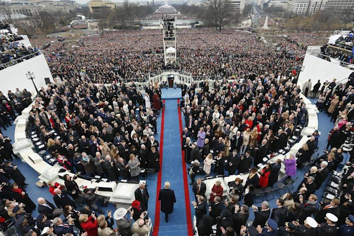 <p>President-elect Donald Trump arrives during the 58th Presidential Inauguration at the U.S. Capitol in Washington, Friday, Jan. 20, 2017. (Photo: Carolyn Kaster/AP) </p>