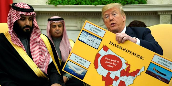 "President Donald Trump holds a chart of military hardware sales as he welcomes Saudi Arabia's Crown Prince Mohammed bin Salman in the Oval Office at the White House in Washington, DC, March 20, 2018. <p class=""copyright"">Jonathan Ernst/Reuters</p>"