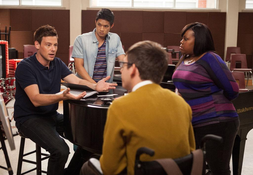 "Finn (Cory Monteith) seeks advice from Artie (Kevin McHale), Mike (Harry Shum Jr.) and Mercedes (Amber Riley) in the ""The Role You Were Born to Play"" episode of ""Glee."""