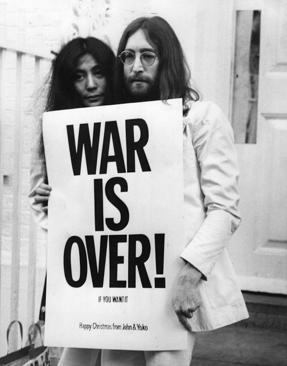 """<p>John Lennon and Yoko Ono recorded this with the Harlem Community Choir as a protest song against the Vietnam War, and it eventually became a classic Christmas hit. </p><p><a class=""""link rapid-noclick-resp"""" href=""""https://www.amazon.com/Happy-feat-Harlem-Community-Choir/dp/B0186SF7SM?tag=syn-yahoo-20&ascsubtag=%5Bartid%7C10055.g.2680%5Bsrc%7Cyahoo-us"""" rel=""""nofollow noopener"""" target=""""_blank"""" data-ylk=""""slk:AMAZON"""">AMAZON</a> <a class=""""link rapid-noclick-resp"""" href=""""https://go.redirectingat.com?id=74968X1596630&url=https%3A%2F%2Fmusic.apple.com%2Fus%2Falbum%2Fhappy-xmas-war-is-over-feat-the-harlem-community-choir%2F1444029651%3Fi%3D1444029870&sref=https%3A%2F%2Fwww.goodhousekeeping.com%2Fholidays%2Fchristmas-ideas%2Fg2680%2Fchristmas-songs%2F"""" rel=""""nofollow noopener"""" target=""""_blank"""" data-ylk=""""slk:ITUNES"""">ITUNES</a> </p>"""