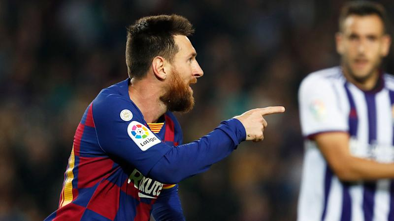 Lionel Messi was at his majestic best in Barcelona's big win. Pic: AAP