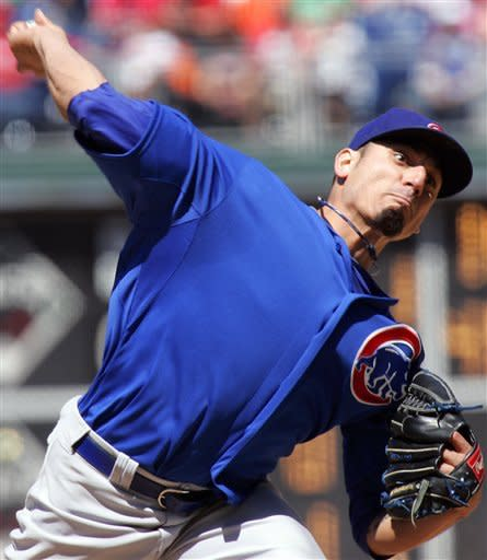 Chicago Cubs' Matt Garza throws in the third inning of a baseball game against the Philadelphia Phillies, Sunday, April 29, 2012, in Philadelphia. (AP Photo/Tom Mihalek)