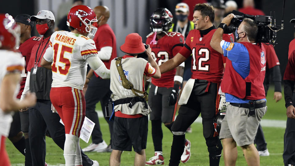 All eyes will be on Patrick Mahomes and Tom Brady as they look to add to their considerable individual legacies during Super Bowl LV. (AP/Jason Behnken)