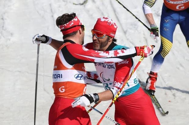 Canada's Brian McKeever, right, and guide Russell Kennedy, left, took silver in the 7.5-kilometre sit-ski race at the Para-Nordic World Cup in Finland on Tuesday. (Chung Sung-Jun/Getty Images/File - image credit)