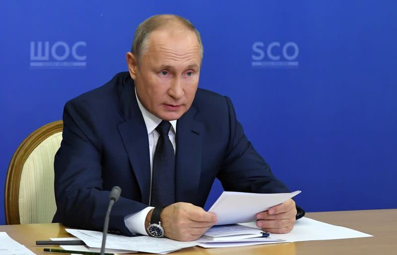 Russian President Putin attends a summit of leaders of the Shanghai Cooperation Organisation in Sochi