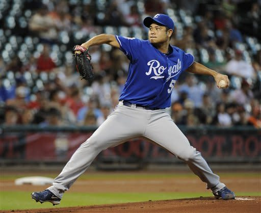 Kansas City Royals' Bruce Chen delivers a pitch against the Houston Astros in the first inning of a baseball game Wednesday, June 20, 2012, in Houston. (AP Photo/Pat Sullivan)