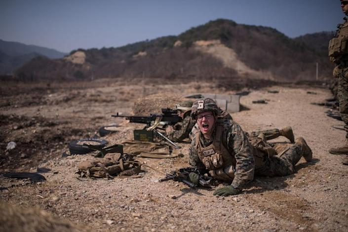 US soldiers take part in a live fire drill during an exercise entitled 'Ssang Yong' near South Korea's southeastern port city of Pohang on March 15, 2016 (AFP Photo/Ed Jones)