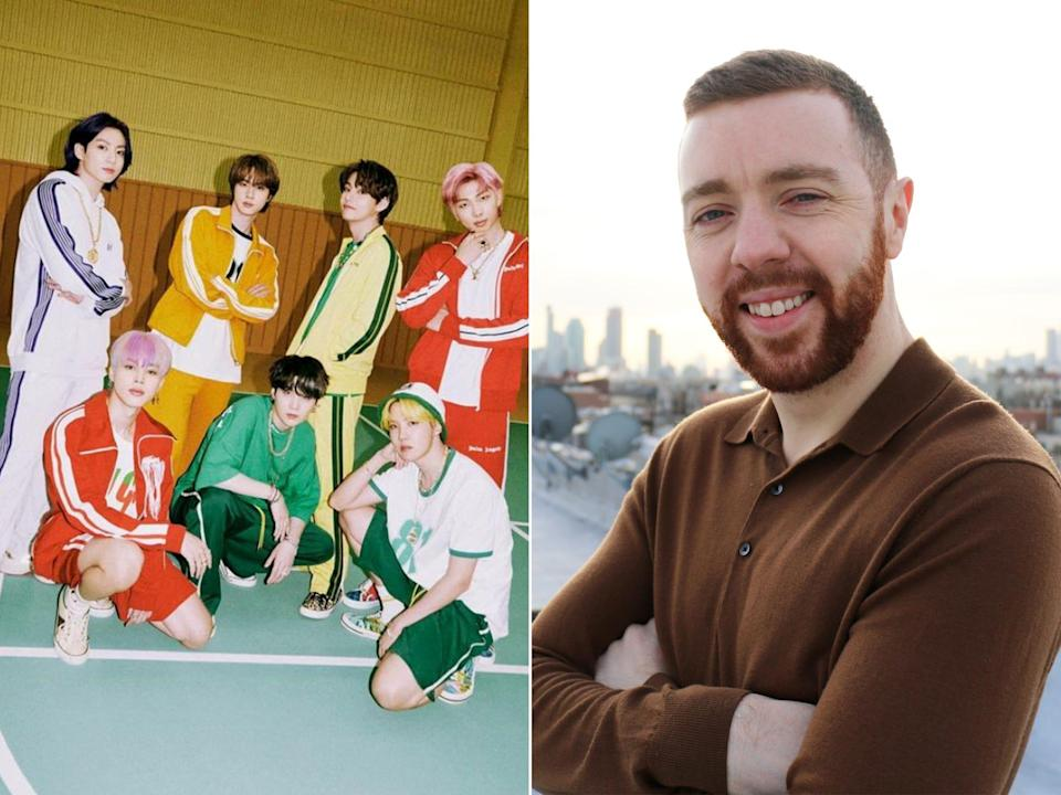 A picture of BTS on the left and the post author, Brian Patrick Byrne, on the right.