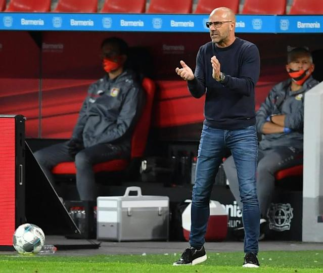 Leverkusen boss Bosz has called for health regulations to be eased in Germany (AFP Photo/Marius Becker)