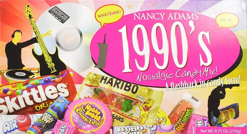 <p>Don't forget to include some yummy treats like Bubble Tape and Warheads, which come in this fun <span>1990s Nancy Adams Nostalgic Candy Mix Gift Box</span> ($15). </p>