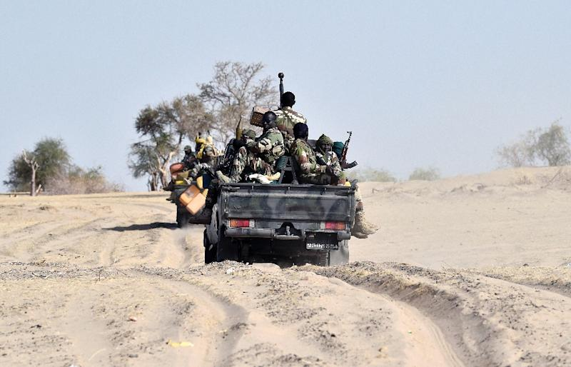 Niger troops patrolling the region around Bosso, a town near the Nigerian border near where the latest attack happened in Toumour commune (AFP Photo/ISSOUF SANOGO)