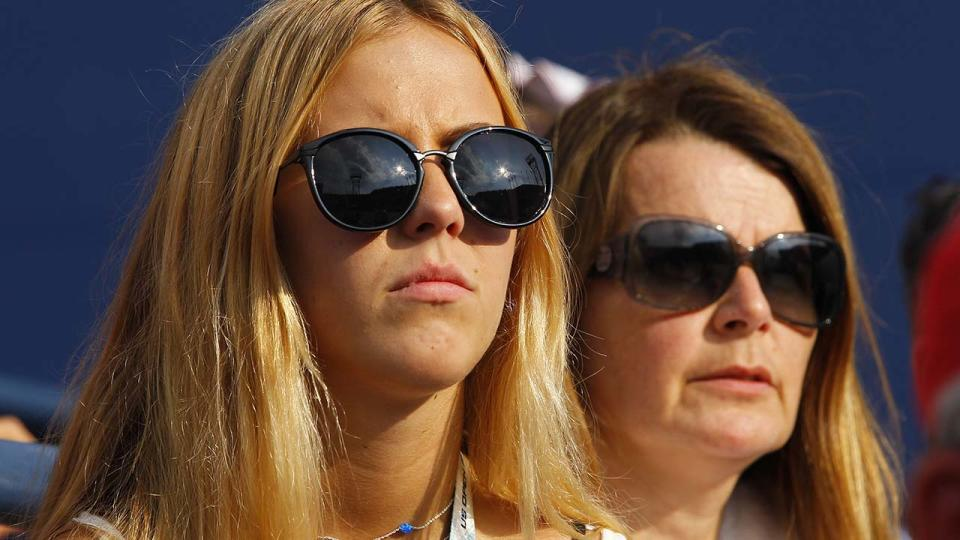 Beatrice Bouchard, pictured here watching sister Eugenie at the 2014 US Open.