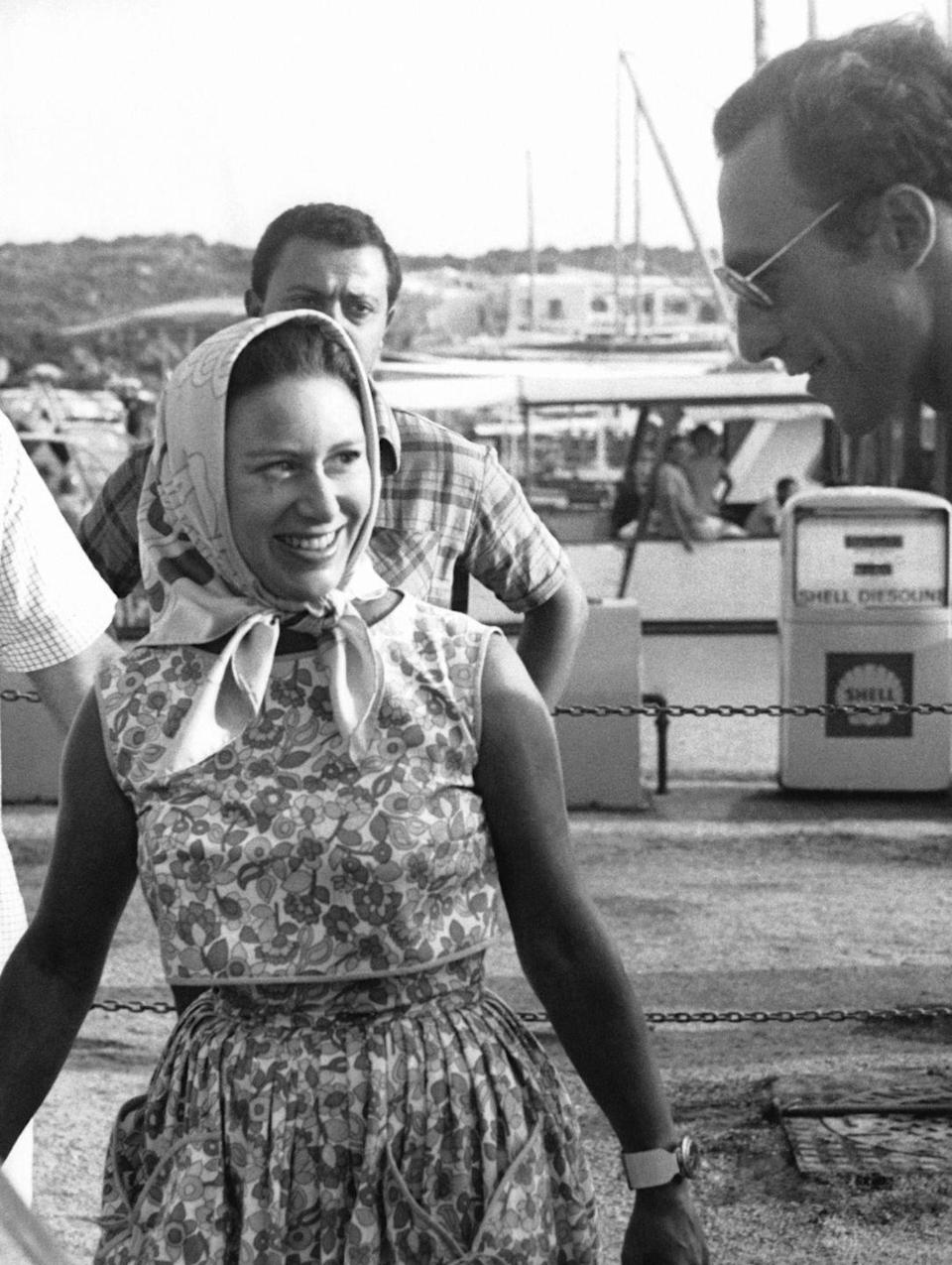 <p>Princess Margaret arrives at Porto Cervo in Sardinia, Italy before heading out on a yacht for a day in the sun in 1967. </p>